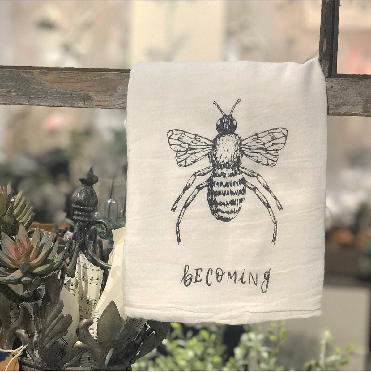 "Tea Towel: Bee ""Becoming"""