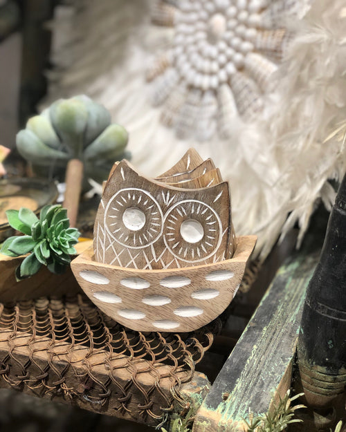 Carved Owl Coasters - set of 5