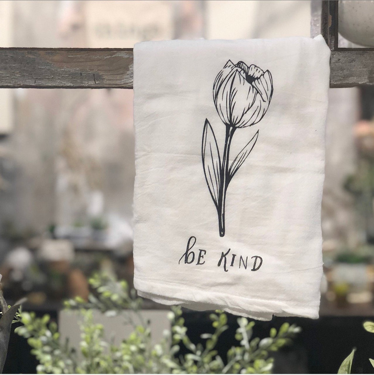 "Tea Towel: Tulip ""Be Kind"""
