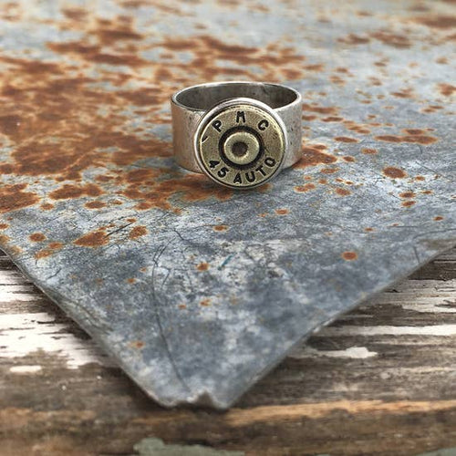 Bullet Ring - Wide Band Antique Silver No crystal