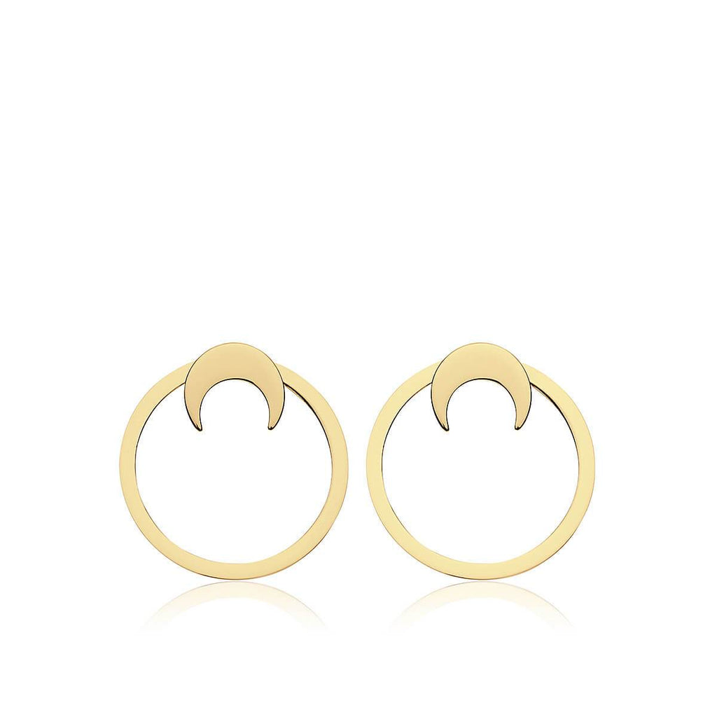 Pendientes FLAT MOON GOLD · 2 en 1 · - Olivia Olash