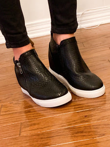 You Are Irreplaceable Wedge Sneakers, Black