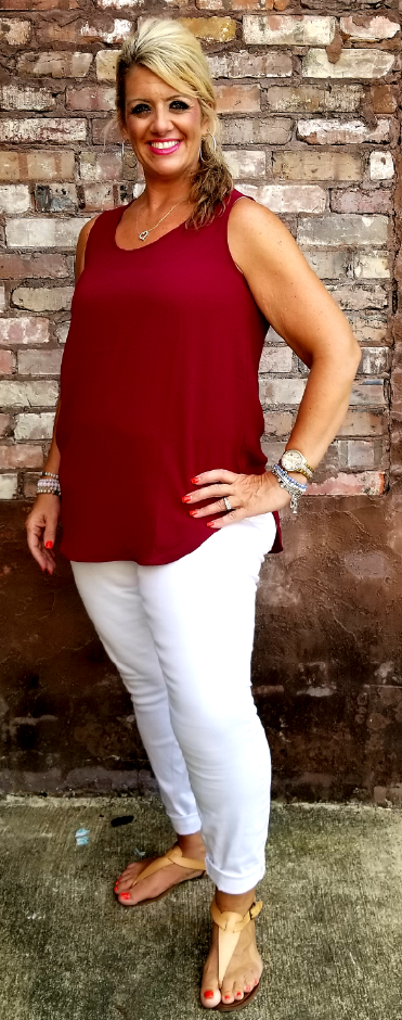 Bascially Beautiful Tank, Maroon