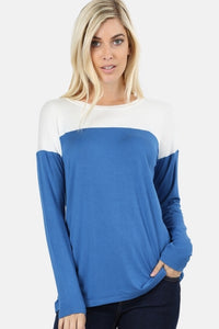 Blue & White Color Block Top
