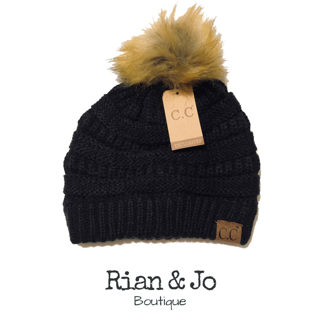 Adult - CC Hat with Pom - Black