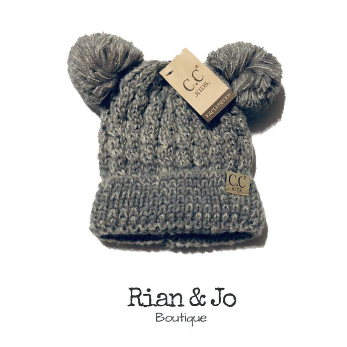 Kids - CC Double Pom Hat (Gray)