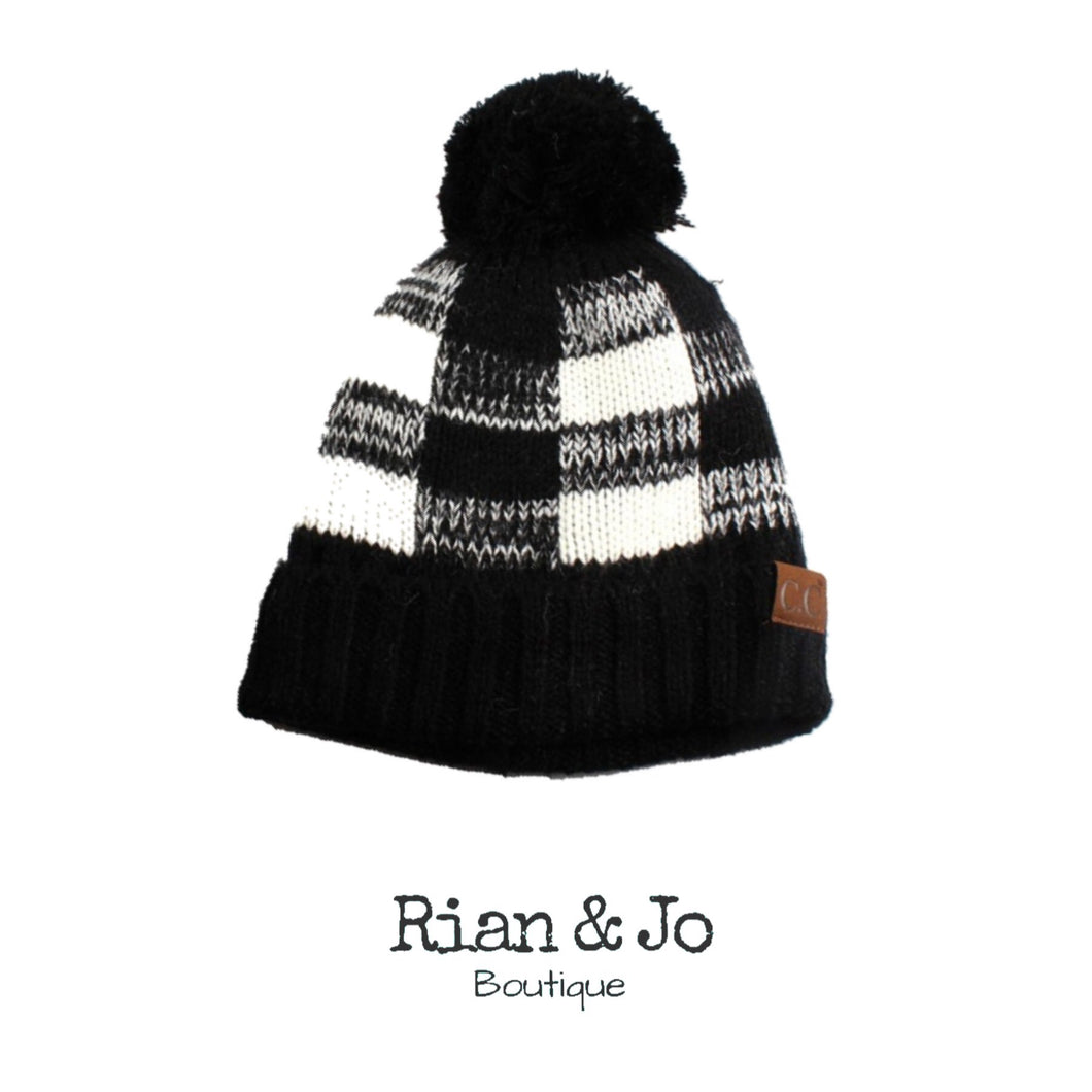 Adult - CC Black/White Plaid Hat with Pom