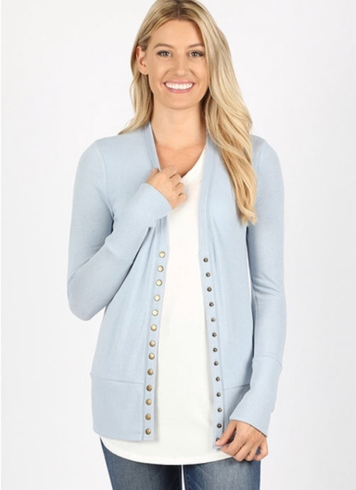 Snap Button Cardigan - Ash Blue