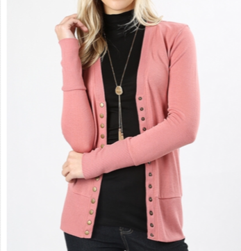 Snap Button Cardigan - Ash Rose