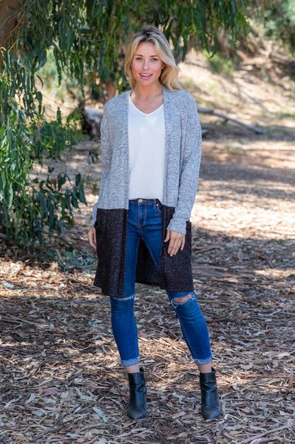 HeatherGray/Charcoal Color Block Cardi