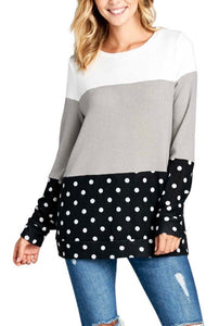 Brushed Polka Dot Color Block Top