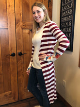 Load image into Gallery viewer, Burgundy Stripe Long Cardigan