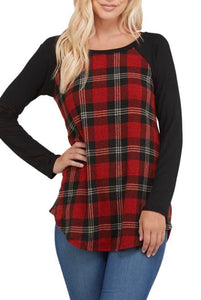 Red Plaid Print Top