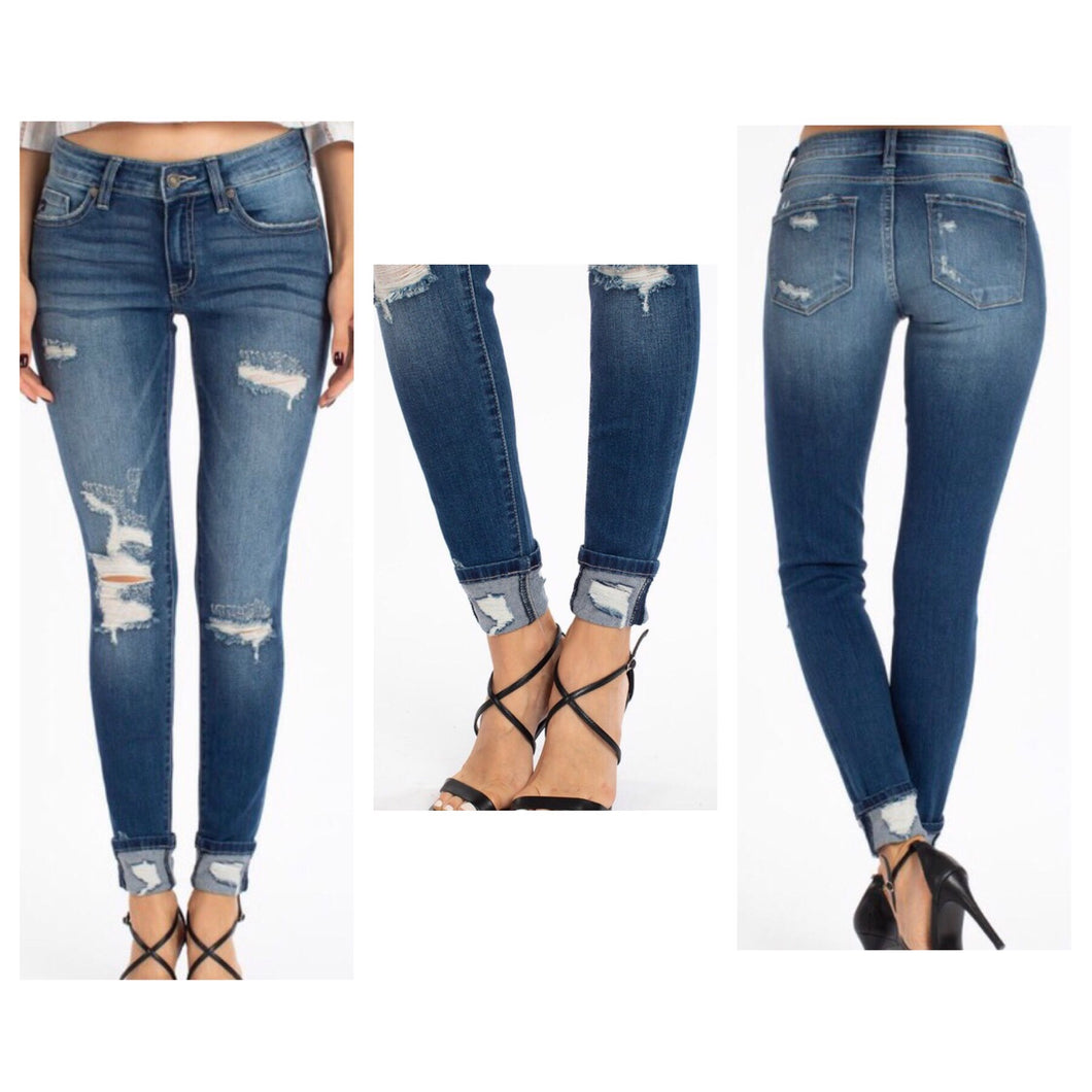 Kancan - Midrise Distressed Super Skinny