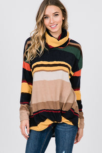Multicolor Striped Cowl