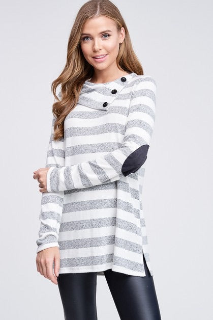 Heather Gray Stripes with Buttons