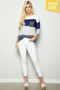 Navy Color Block Stripe