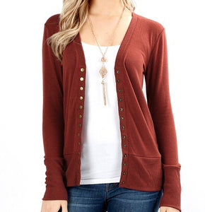 Snap Button Cardi - Rust