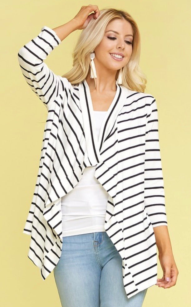 Striped 3/4 Sleeve Cardi