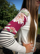 Load image into Gallery viewer, Floral and Stripes Raglan - Burgundy