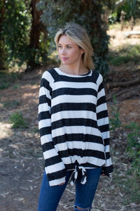 Ivory and Black Stripe Top with Knot