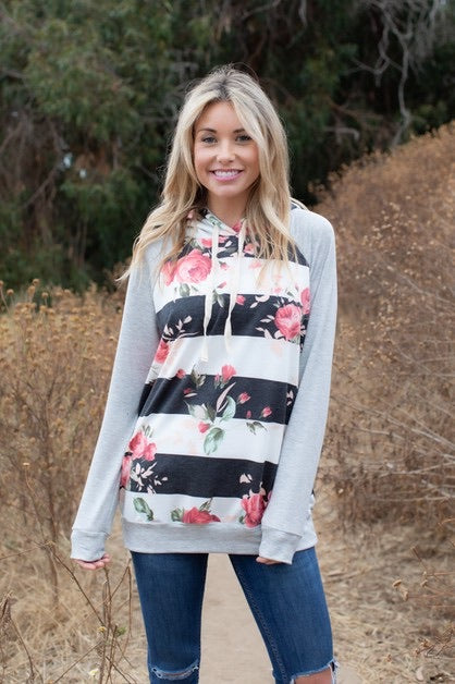 Stripes and Floral Hoodie