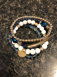 PL - Blue/Cream Bracelet Set
