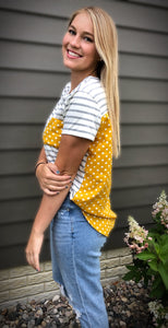 Mustard Dots and Stripes