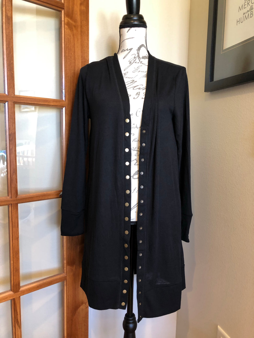 Snap Button Cardigan Long - Black