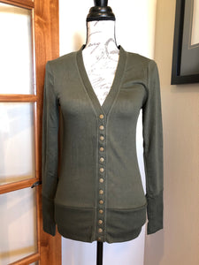 Snap Button Cardigan - Olive