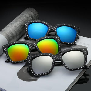 58mm Squared Off Silhouette Round Studded Accent Trim Sunnies - Mix Colors