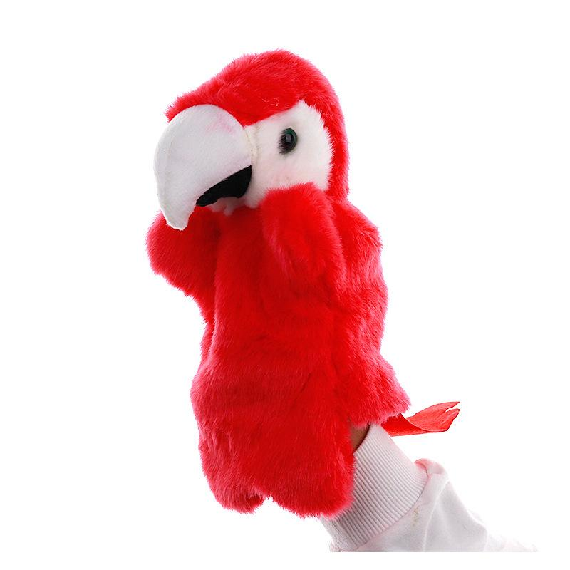 Popular Red Parrot Stage Puppet Playing, Teaching Plush Toys
