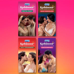 Kohinoor Condoms All Variants-Dotted flavoured latex condoms. Straight walled and teat ended natural rubber latex condoms that smell good. Lubricated for extra sensitivity. 100% electronically tested. Dotted Meetha Pan flavoured latex condoms, Dotted Juicy Strawberry flavoured latex condoms, Dotted Silky Chocolate flavoured latex condoms, Dotted Kala Khatta flavoured latex condoms