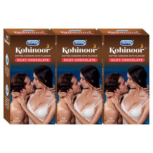 Kohinoor Condoms-Silky Chocolate-Dotted chocolate flavored latex condoms. Straight walled and teat ended natural rubber latex condoms that smell good. Coloured and lubricated for extra sensitivity.