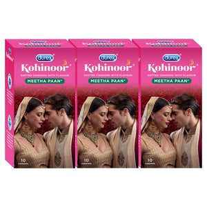 Kohinoor Condoms-Meetha Pan-Dotted meetha paan, cherry flavored latex condoms. Straight walled and teat ended natural rubber latex condoms that smell good. Coloured and lubricated for extra sensitivity. 100% electronically tested.