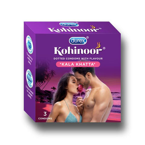 Kohinoor Condoms-Dotted Kala Khatta flavoured latex condoms. Straight walled and teat ended natural rubber latex condoms that smell good. Coloured and lubricated for extra sensitivity. 100% electronically tested.