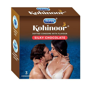 Kohinoor Condoms, Silky Chocolate- 3 Packs of 3