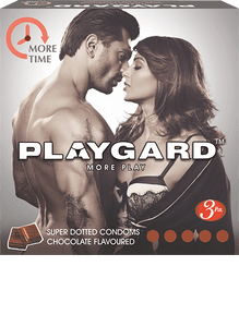 Playgard-Playgard More Time Condoms - 3 Packs of 10-50% more raised dots, tempting and lip smacking flavours and climax delaying condoms