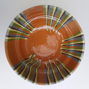 Half-Stripe Rust Clay Bowl - Casa De Folklore