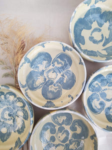 Blue Marled Flower Bowl