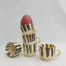 Load image into Gallery viewer, Cream Stripe Espresso Egg Cup - Casa De Folklore