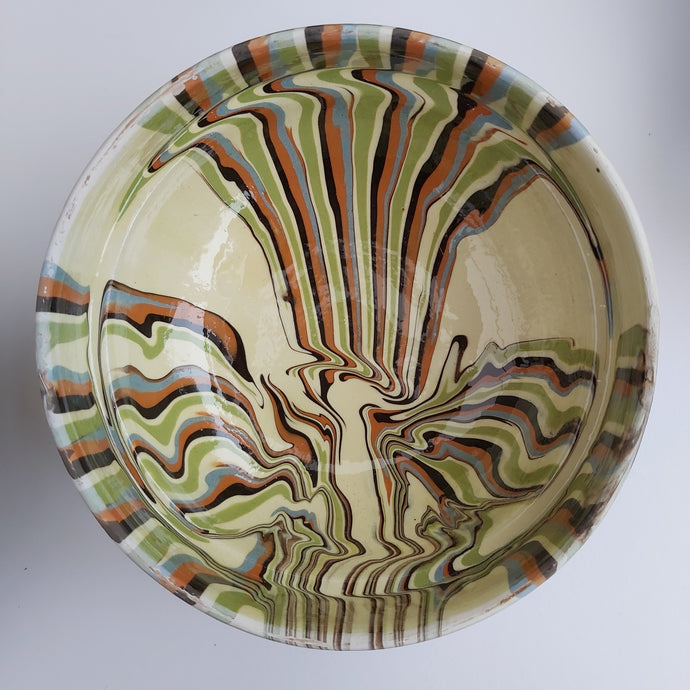 Cream Marble Effect Clay Bowl - Casa De Folklore
