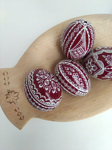 Red Hand-Painted Easter Eggs