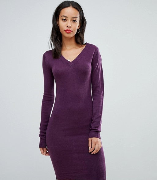 Pulover Brave Soul - Tall Jumper Dress with V Neck