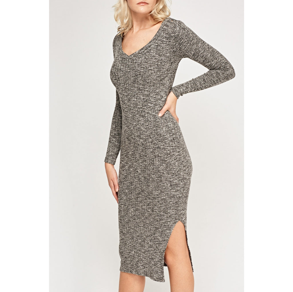 Pulover Raspberry - V-Neck Speckled Midi Dress
