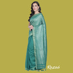 Load image into Gallery viewer, Teal Liva Saree with Zari Work Anchal