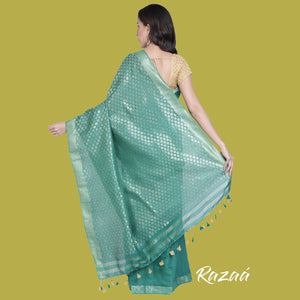 Teal Liva Saree with Zari Work Anchal