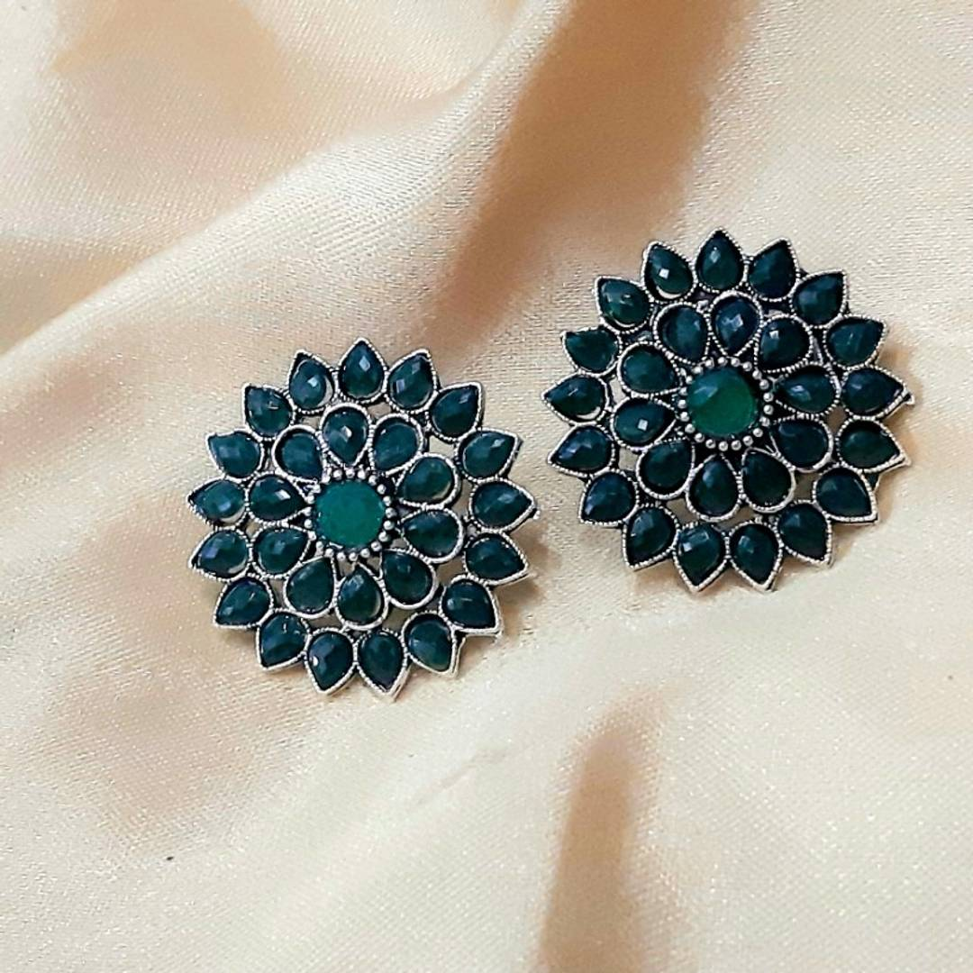 Teal Dahlia Alloy Stud Earrings