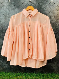 Peachy Pleated Shirt Top