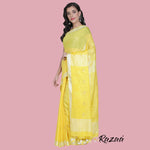 Load image into Gallery viewer, Lemon Yellow Liva Saree with Silver and Gold Flower Motif
